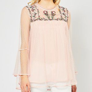 Entro Dotted Lace Embroidered Neckline Top